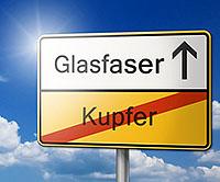 Glasfaser Kupfer Schild